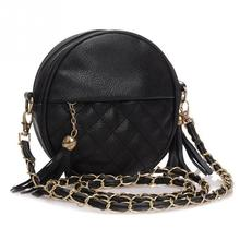 2017 Top-handle Women Tassel Chain Small Bags Mini Lady Fashion Round Shoulder Bag Handbag PU Leather Sling Crossbody Bag female