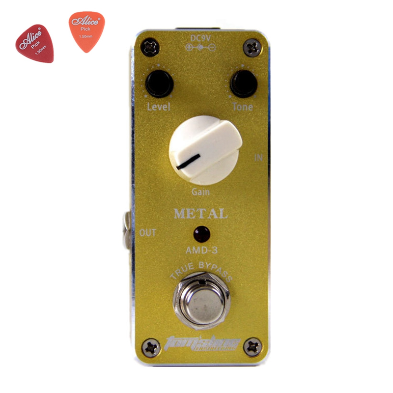 AMD-3 Metal Distortion Guitar Effect Pedal  Aroma Mini Size Pedals True Bypass Aluminum Alloy Housing Guitar Accessories mooer ensemble queen bass chorus effect pedal mini guitar effects true bypass with free connector and footswitch topper