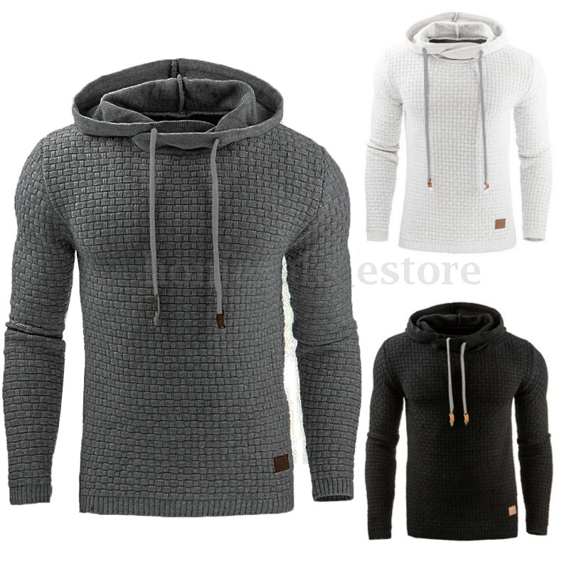 TREVOR LEIDEN Hoodies Men 2018 Brand Male Long Sleeve Solid Lattice Hooded Sweatshirt Mens Hoodie Tracksuit Street Wear Clothing(China)