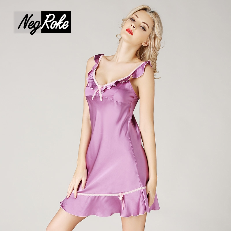 New summer sexy women nightgowns 100% silk spaghetti strap sleeveless ladies sleepdress noble and elegant nightdress for women