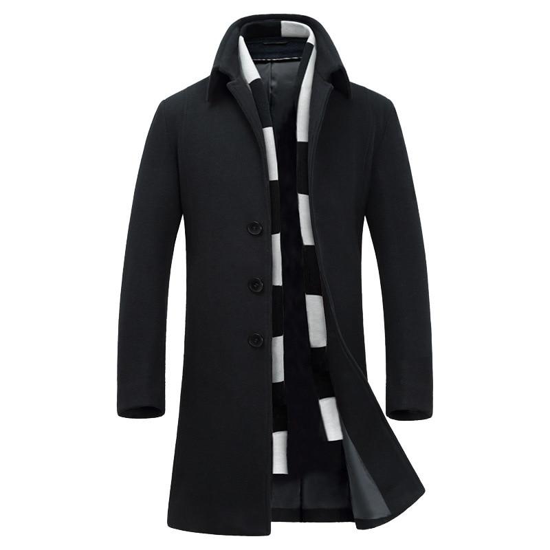 Autumn and winter woolen coat men s long section of self cultivation woolen jacket lapel