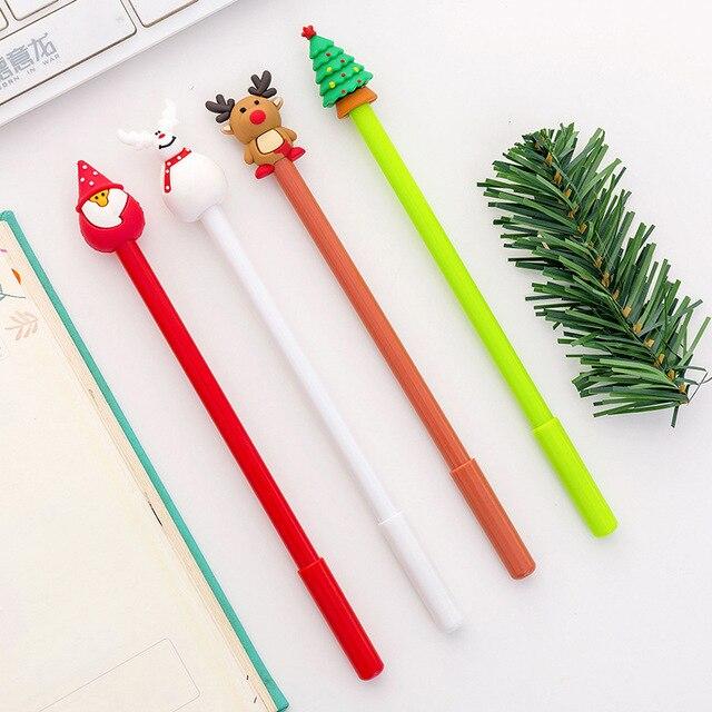 40 adet noel jel sevimli noel baba kalem yazma okul ofis yılbaşı hediyeleri sevimli kırtasiye noel yenilik jel kalemler