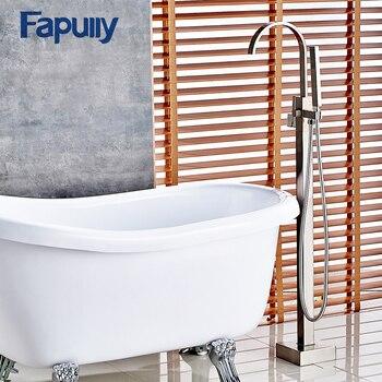 цена на Fapully Bathroom Shower Set Bath Tub Shower Faucet Filler Nickel Brushed Floor Mount With Hand Shower Mixer Taps Bathtub Faucet