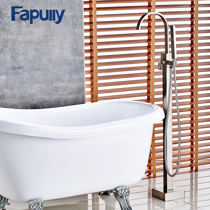Fapully Bathroom Shower Set Bath Tub Shower Faucet Filler Nickel Brushed Floor Mount With Hand Shower Mixer Taps Bathtub Faucet