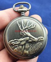 Elaborate Chinese antique imitation old deer mechanical pocket watch Double lid