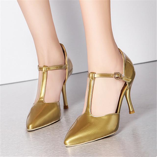 New fashion mulheres bombas salto fino fundo vermelho bombas Sólida patente sapatos de Couro dedo do pé fechado sandálias de dedo apontado tamanho Grande sapatos