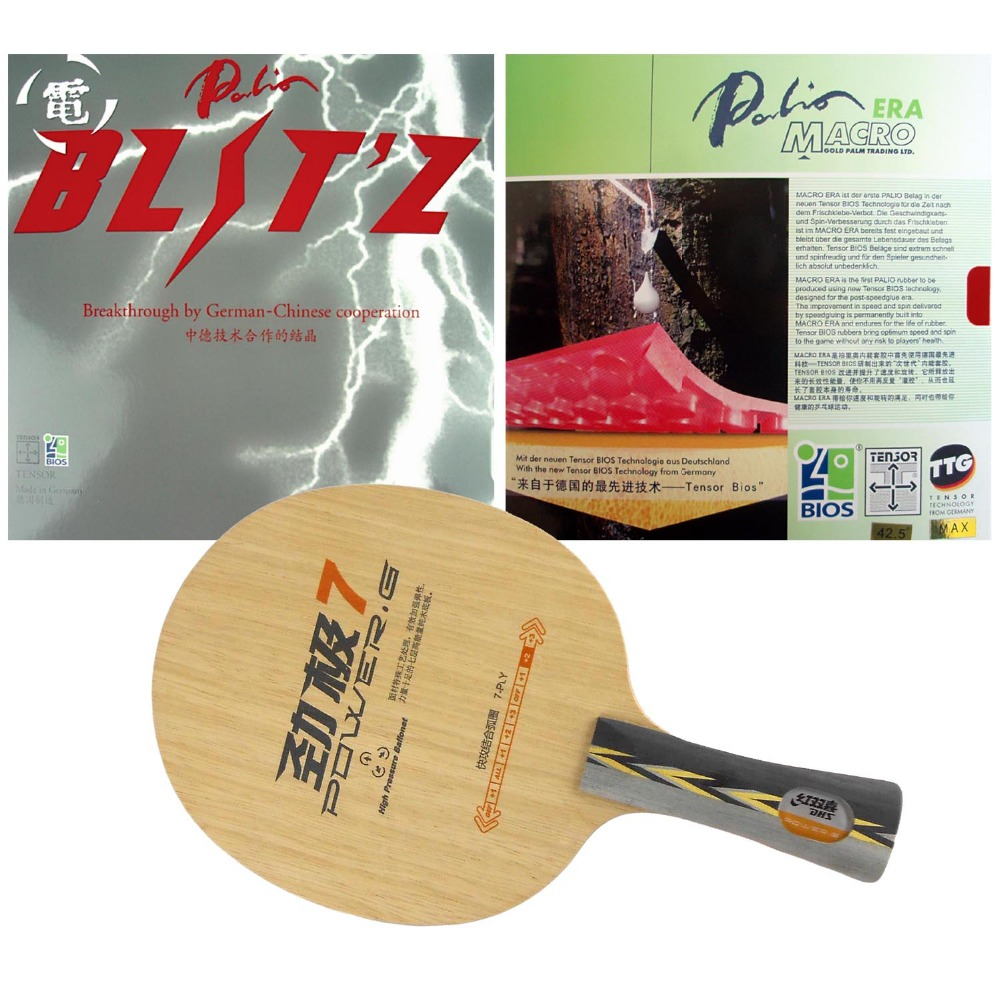 DHS POWER.G7 PG7 PG.7 PG 7 blade with Palio BLITZ and MACRO ERA Rubbers for a Racket Shakehand long handle FL