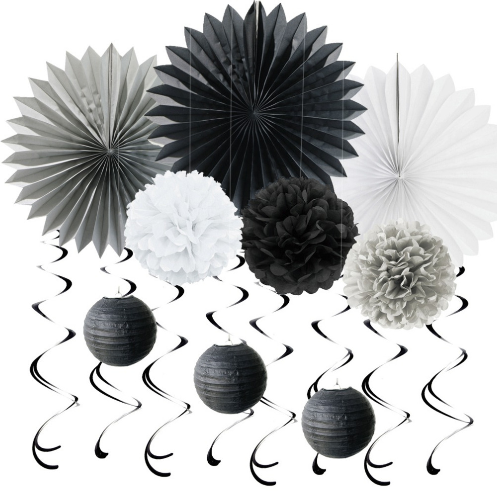 black grey white paper decoration set swirls paper fans poms for birthday wedding themed party. Black Bedroom Furniture Sets. Home Design Ideas