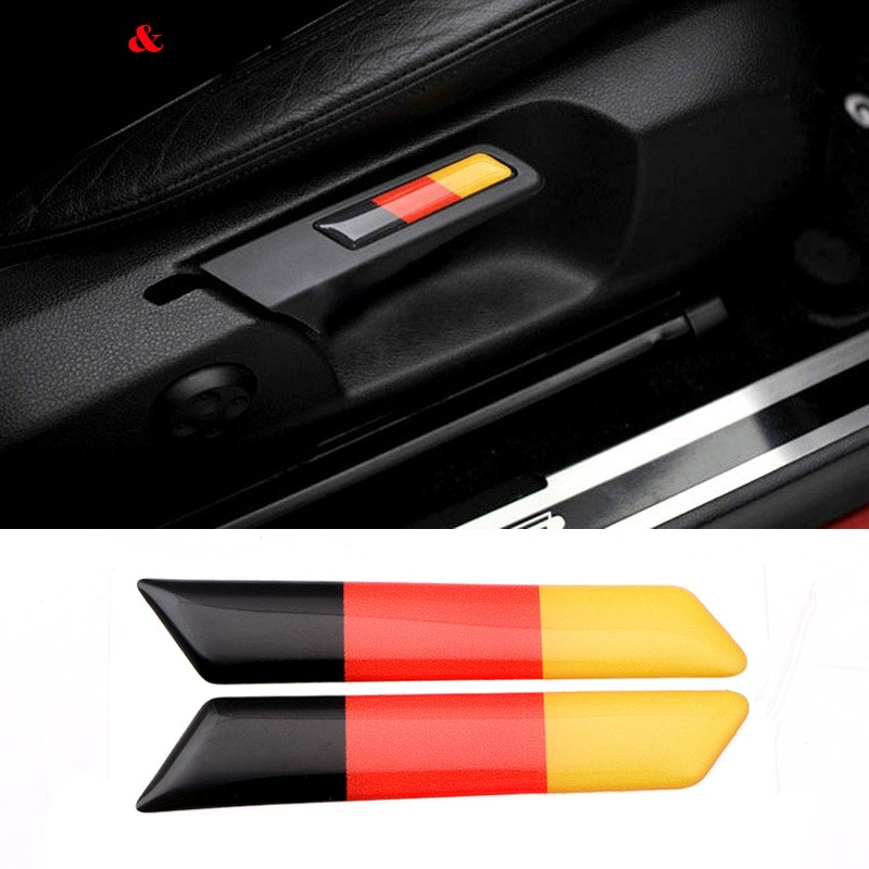 2Pcs 3D Sticker Lift Wrench Handle Seat Insert Trim Cover For Volkswagen <font><b>VW</b></font> <font><b>Golf</b></font> <font><b>5</b></font> 6 MK5 MK6 <font><b>GTI</b></font> Germany Flag Emblem Car Styling image