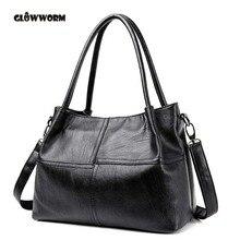 GLOWWORM Mode Damen Handtasche frauen Aus Echtem Leder Handtasche Schwarz Leder Einkaufstasche Bolsas femininas Weiblichen Umhängetasche