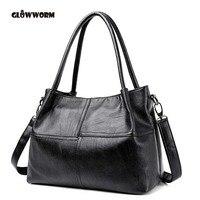 GLOWWORM Fashion Ladies Hand Bag Women S Genuine Leather Handbag Black Leather Tote Bag Bolsas Femininas