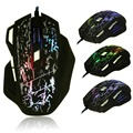 Llevó la luz del ratón gamer ratón fresco moda 7 botones 5500 dpi usb óptico colorful grieta ratón con cable