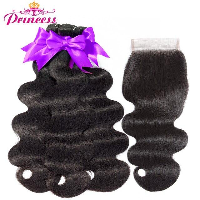 Beautiful Princess Hair Body Wave Human Hair Bundles With Closure Double Weft Remy Brazilian Hair Weave 3 Bundles With Closure