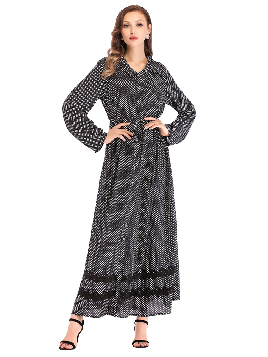 Casual Polka Dots Muslim Abaya Lace Maxi Dress Tunic Kimono Long Robe Gowns Jubah Middle East Arab Ramadan Islamic Clothing