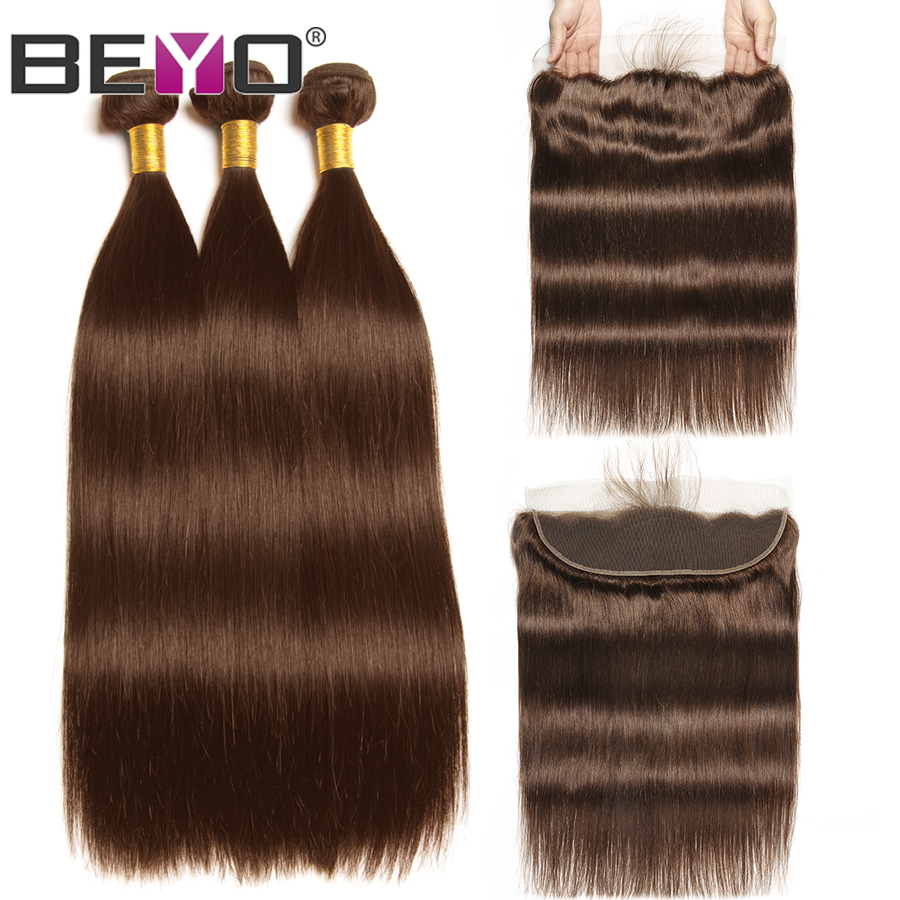 Beyo Pre Colored Lace Frontal With Bundles 4 Light Brown Peruvian Straight Human Hair Bundles With