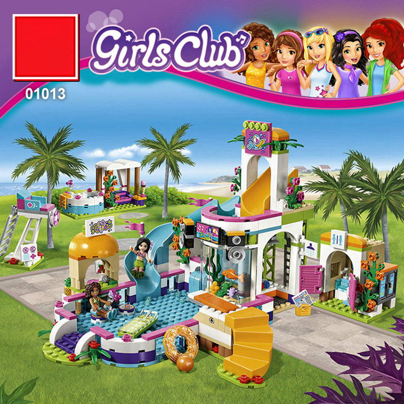 01014 37029 Girls Club The Heartlake Summer Pool Set Friends 41313 Model Educational Building Bricks Compatible with Legoe waz compatible legoe friends 41313 lepin 01013 589pcs building blocks the heartlake summer pool bricks figure toys for children