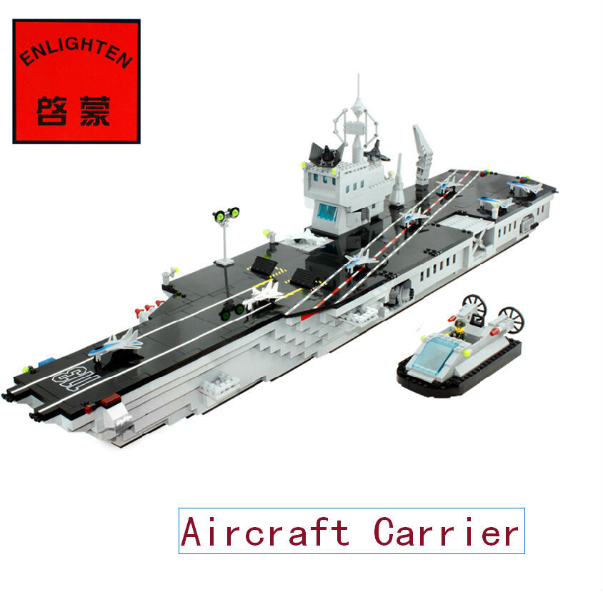 Enlighten 113 DIY 990pcs  Assembling toys Super Military aircraft carrier Model building blocks sets eductional children toys enlighten building blocks navy frigate ship assembling building blocks military series blocks girls