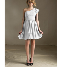 2015 Custom Reception Style Cascading Ruffles Zipper Back Pleat A Line Adult Chiffon One Shoulder Cap Sleeve Bridesmaid Dresses