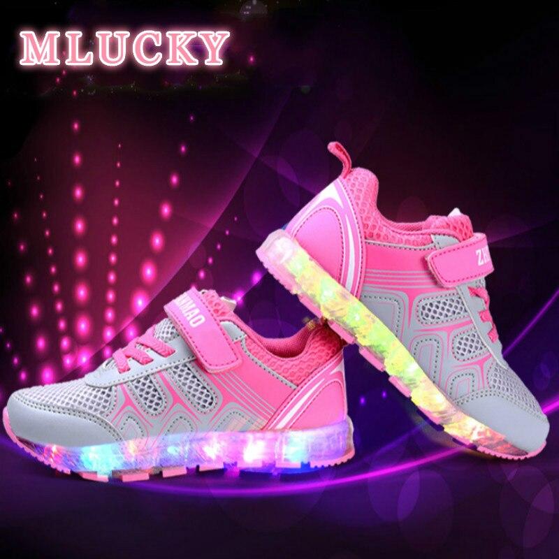4c87650485a Παιδικά γυαλιστερά αθλητικά παπούτσια με φωτεινά υποδήματα παιδικά ...