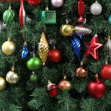 70 sztuk/paczka piękne mieszane wiszące ozdoby świąteczne błyszczący kolor piłka na choinkę nowy rok dekoracja świąteczna