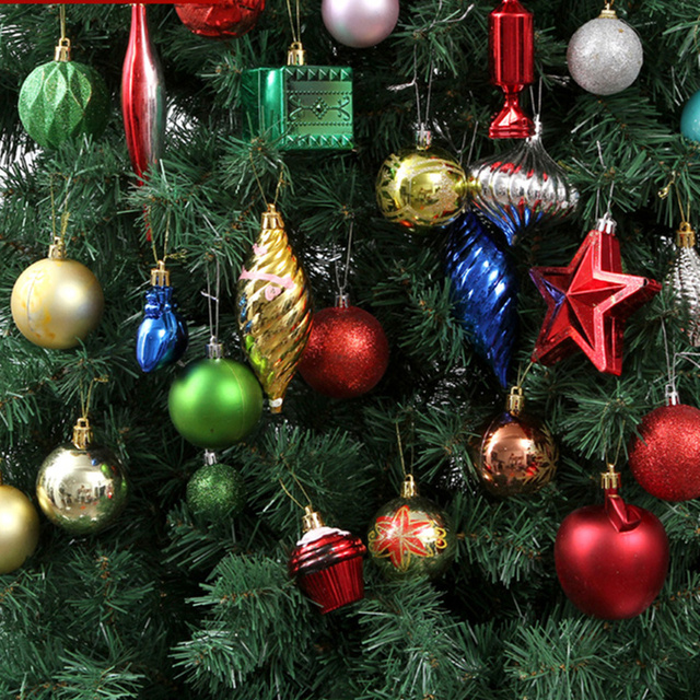 70pcs/pack Beautiful Mixed Christmas Hanging Ornaments Shining Color Ball for Christmas Tree New Year Holiday Decoration