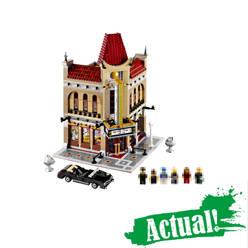 LEPIN 15006 Palace Cinema Street View Creator Building Blocks Bricks Toys DIY For Kids Model Compatible with legoINGly 10232 lepin 15008 2462pcs city street green grocer legoingly model sets 10185 building nano blocks bricks toys for kids boys