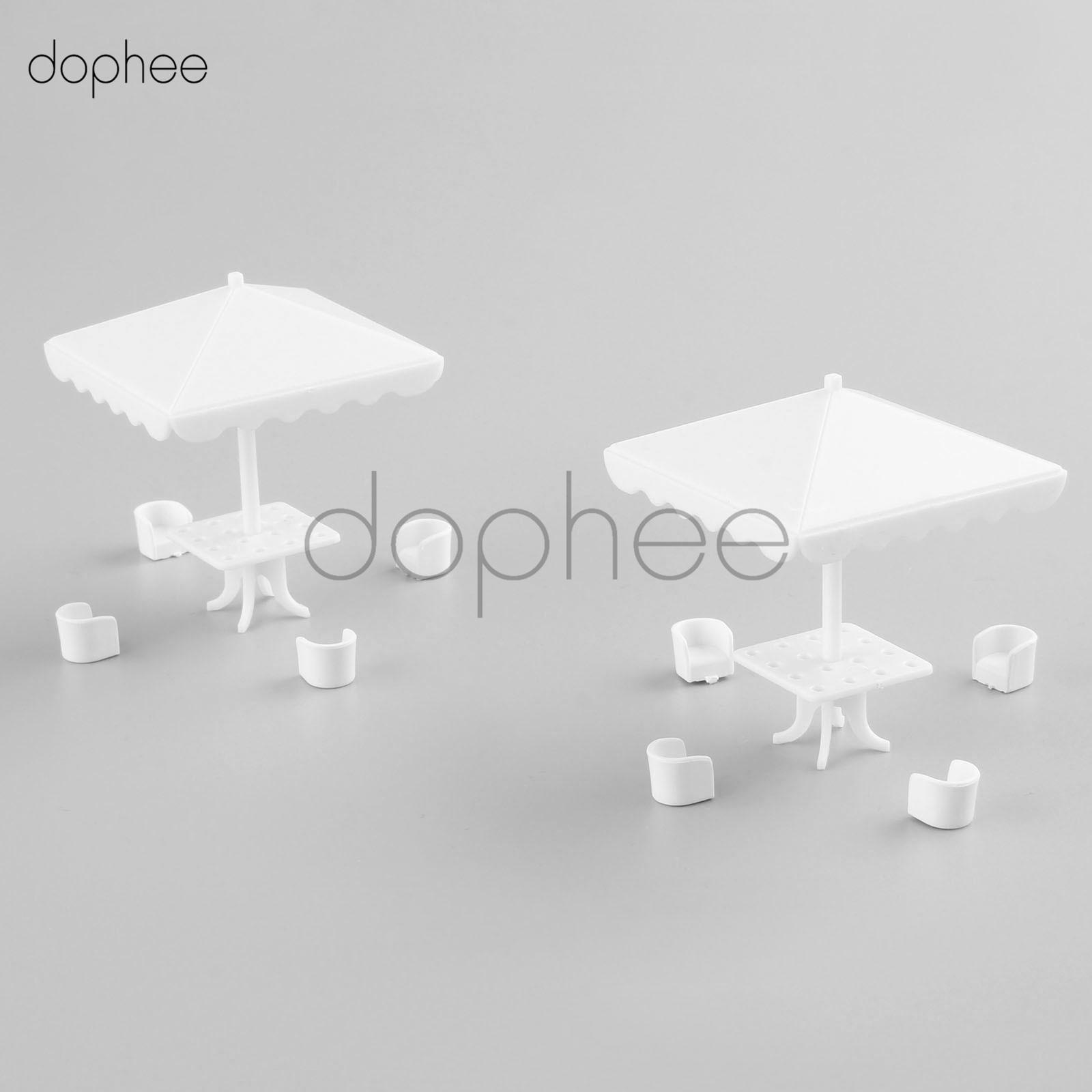 dophee white Plastic 20pcs Chair Model+10pcs Square parasol Model furniture architecture DIY train layout Model scale 1:75