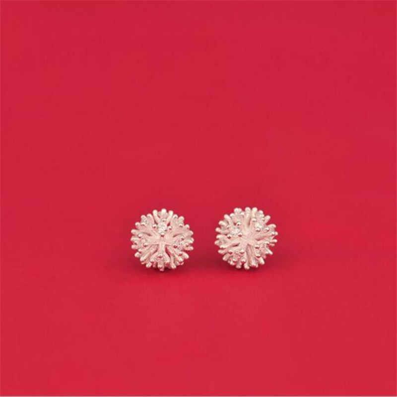 LULU-PIG Hot new argento 925 temperamento originale dente di leone fiore elemento tremella chiodo anti-allergia E0059