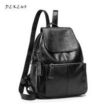 Dlkluo Лидер продаж Для женщин Настоящая кожа рюкзак высокое качество HASP клапаном сумка элегантный дизайн для девочек Школьные сумки Mochila Бесплатная доставка