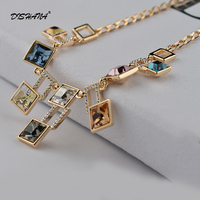 Brand gold color Magic Cube Geometric Muliti Crystal Chocker Pendant Necklace Accessories For Women New(X0245)