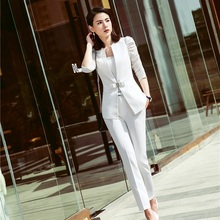 New Styles 2018 Spring Summer Formal Pantsuits With Tops And Pants Elegant White For Women Female Pa