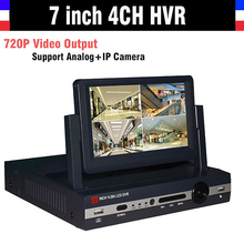 7″ LCD Monitor CCTV 4CH Channel DVR 720P Recorder HDMI Output AHD DVR 4 channel HVR DVR NVR Support Analog IP Camera 3G WIFI