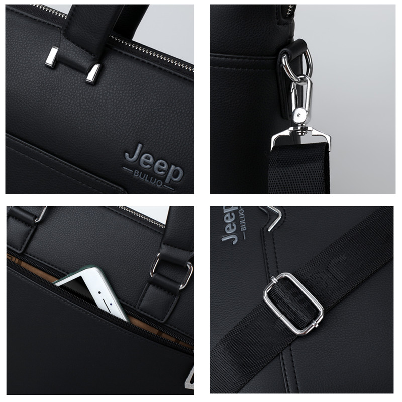 "JEEP BULUO Famous Brand Business Briefcase Bag Cow Split Leather High Quality Men Bags For 14"" Laptop A4 Male Hand Bag 1373-2"