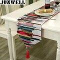 Junwell Модная современная настольная дорожка  цветная нейлоновая жаккардовая скатерть с кисточками  вышитая настольная дорожка