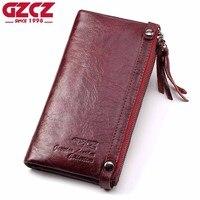 GZCZ Genuine Leather Women Wallet Female Zipper Handy Long Walet Clutch Coin Purse Card Holder Small