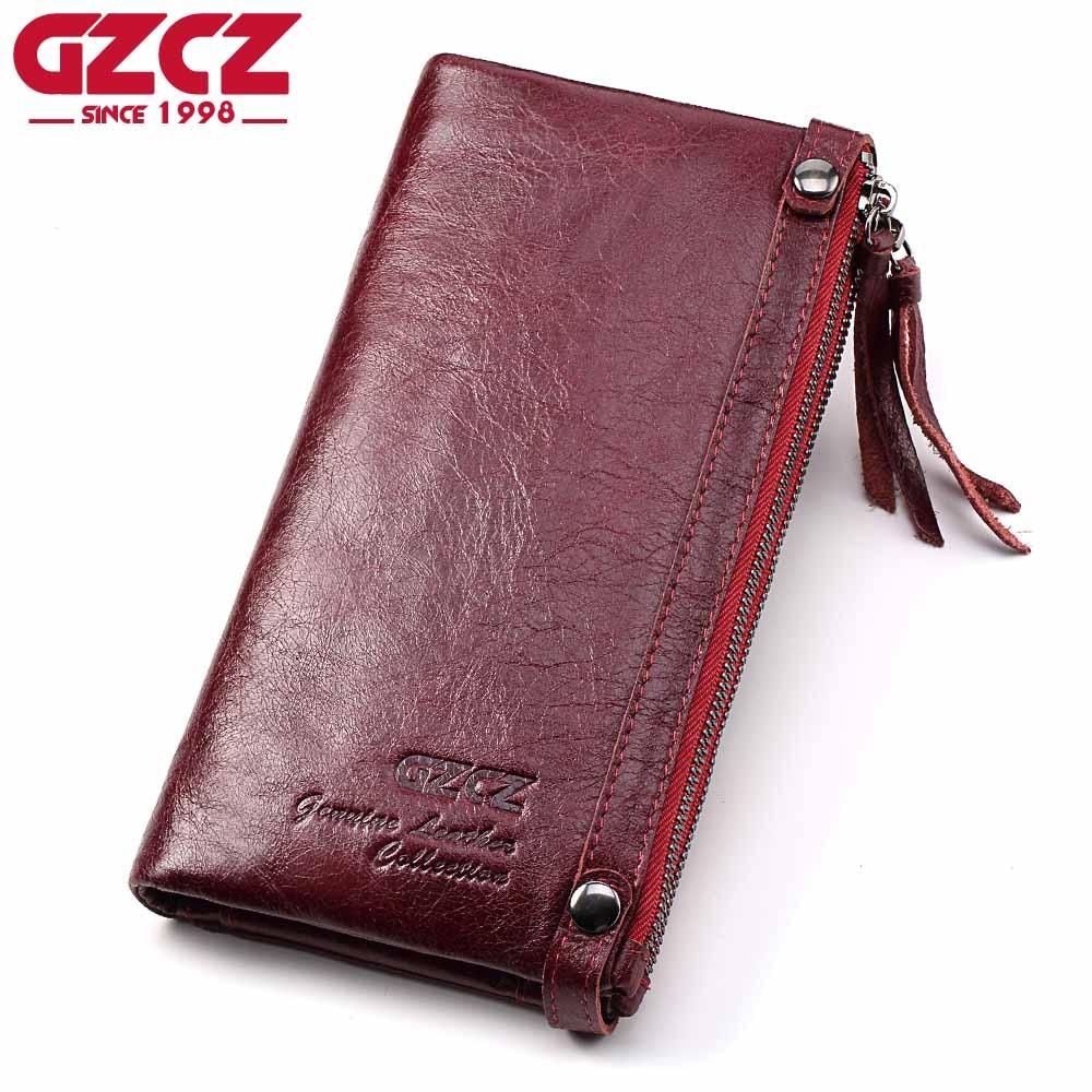GZCZ Genuine Leather Women Wallet Female zipper Handy Long Walet Clutch Coin Purse Card Holder Small Vallet Portomonee for Perse
