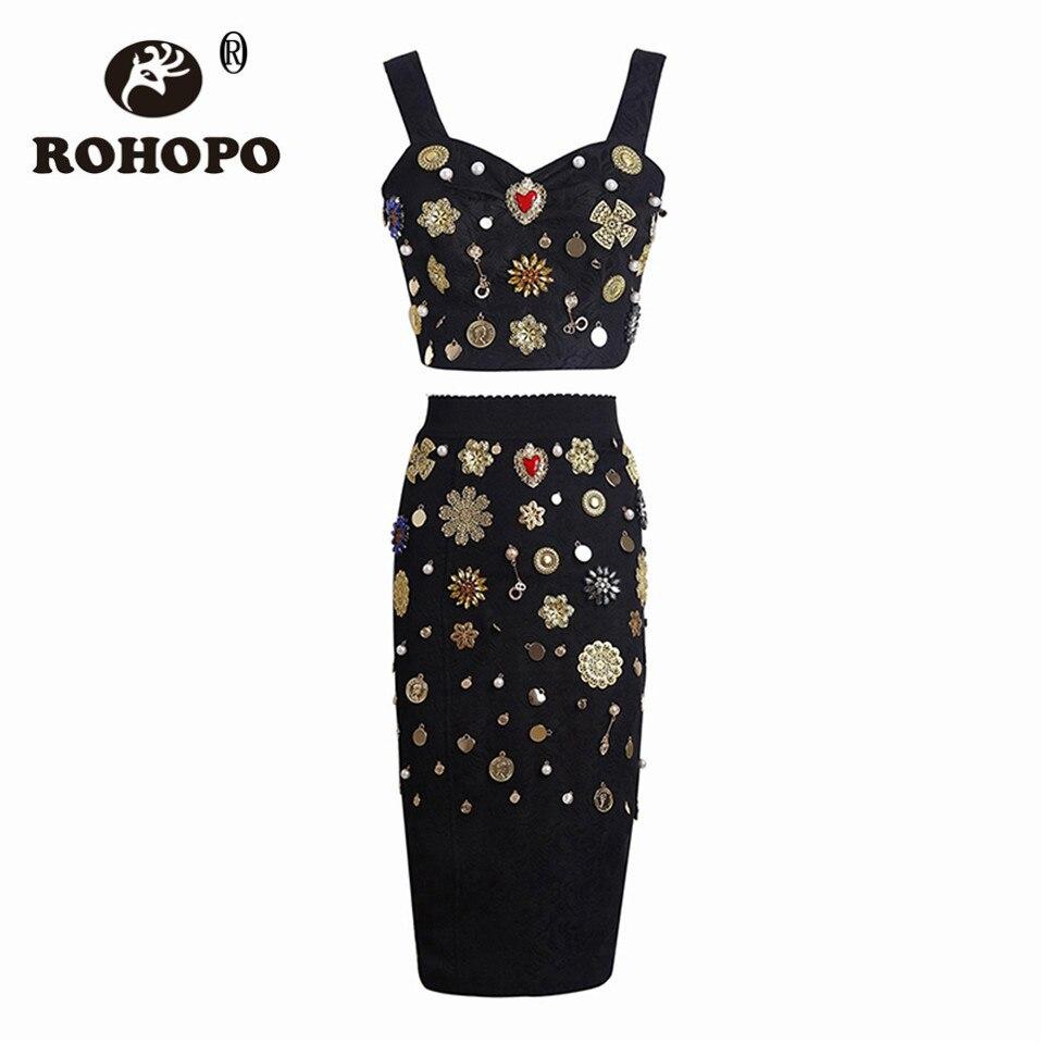 Robe De Diamants Jacquard Rohopo D'été Mode Multi Top Bretelles shirt Jupe Perles Rétro Luxe Mince T Costume Femmes IOOfxtvq