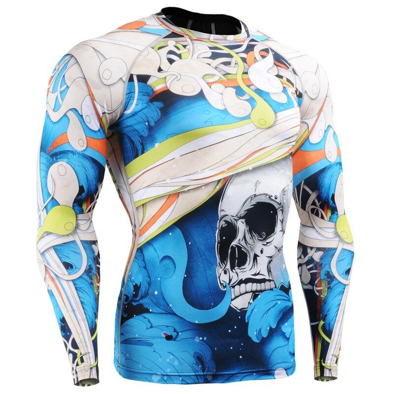 Voll Drucke Männer Compression Engen T shirts für Running Training MMA GYM Verbrauchsteuern & Fitness Long Sleeves Top Shirt Crossfit - 3
