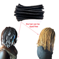 YONNA 100% Human Hair Dreadlocks Hair Extensions 60Locs Full Handmade Can be Dyed to Blonde 8inch(0.8cm Width) Natual Black #1B