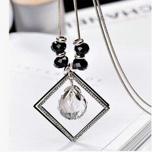 80 см длина хрустальный шар ожерелье цепочка свитер модные вечерние ювелирные изделия
