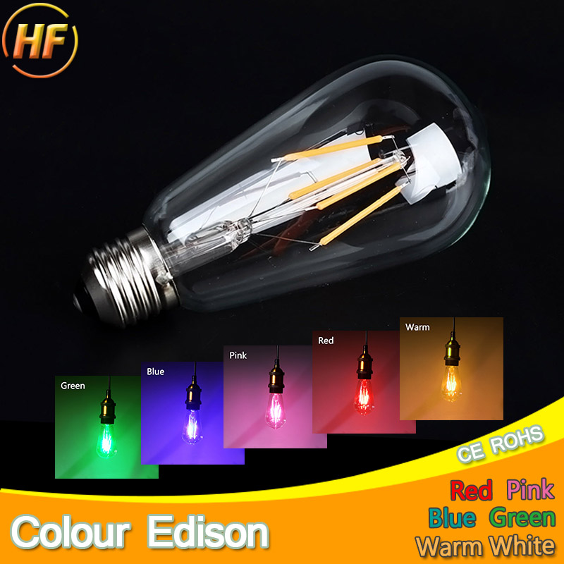 Aliexpress.com : Buy Blue Red Pink Green Color Led Edison ...