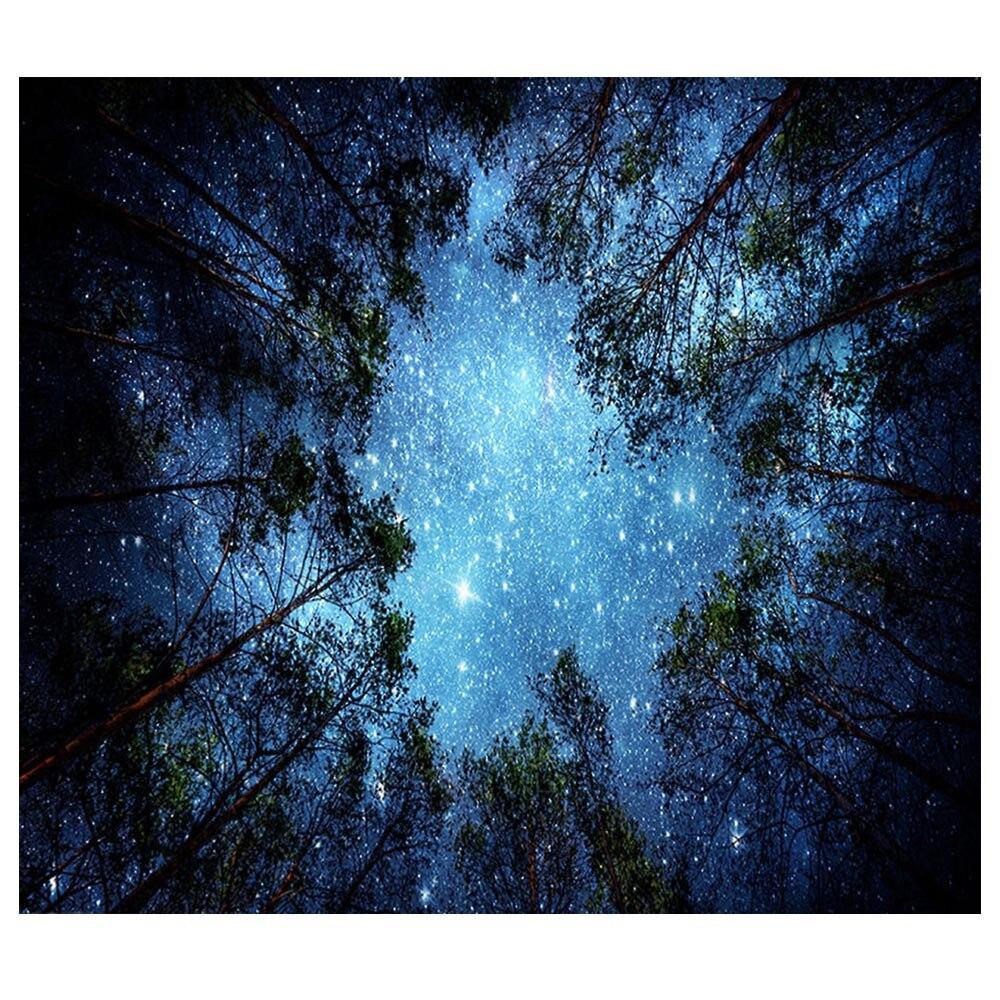 Árvores Da Floresta e As Estrelas do Céu Estrelado psicodélico Tecido Tapeçaria Da Suspensão de Parede Decoração Cortinas de Poliéster Mais Longa Tampa de Tabela