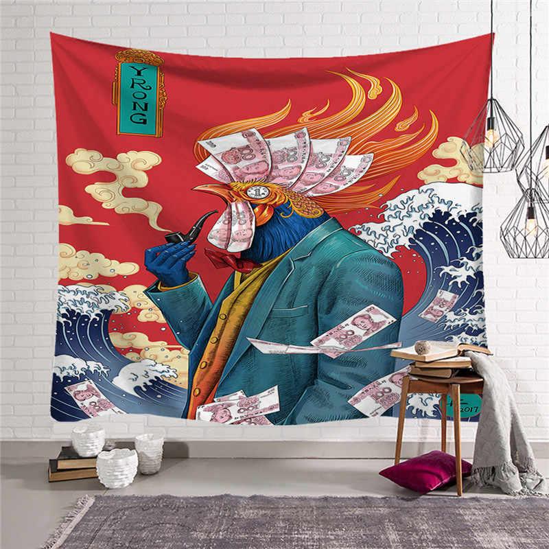 การ์ตูนอะนิเมะพิมพ์ Tapestry บ้านญี่ปุ่นแขวนผนัง Hippie ผ้าห่มตกแต่งบ้าน tapestry w3-new-Lo-5