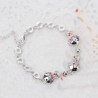 B170447 New mix cores crystal fish pulseira de liga de zinco cor prata cor de rosa de ouro com a Áustria cristal moda senhora jóias