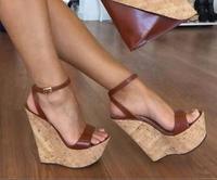 new super high wedge heel 15CM sandal 4.5CM high platform woman wedge sandal black brown color large size custom make 34~45
