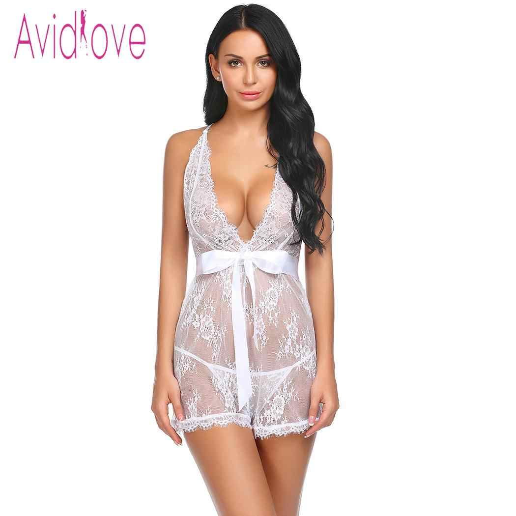 e1f82cd29 ... Avidlove Women Babydoll Sexy Lingerie Sleepwear Underwear Pajamas Lace  Patchwork Spaghetti Strap Chemise G-string ...