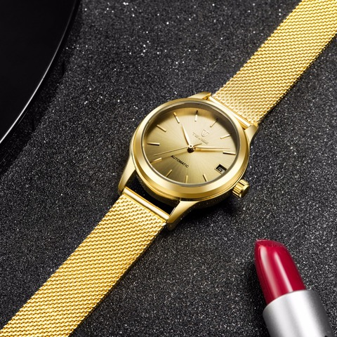 Tevise  Automatic Self-Wind Women Watches Mechanical Mesh Stainlees Steel Auto Date Fashion Causal Wristwatches 9017L Karachi