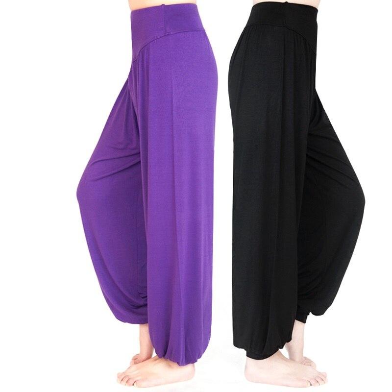 Pantalones Mujer Yoga pantalones Plus tamaño Pantalones deportivos pantalones de Yoga polainas de bebé de Yoga de baile TaiChi pantalones Modal WomenTrousers