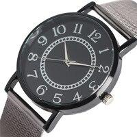 สั้นๆหน้าปัดวงกลมจำนวนอาหรับผู้ชายผู้หญิงนาฬิกาควอทซ์อะนาล็อกเต็มเหล็กตาข่ายวงUnisexนาฬิก...