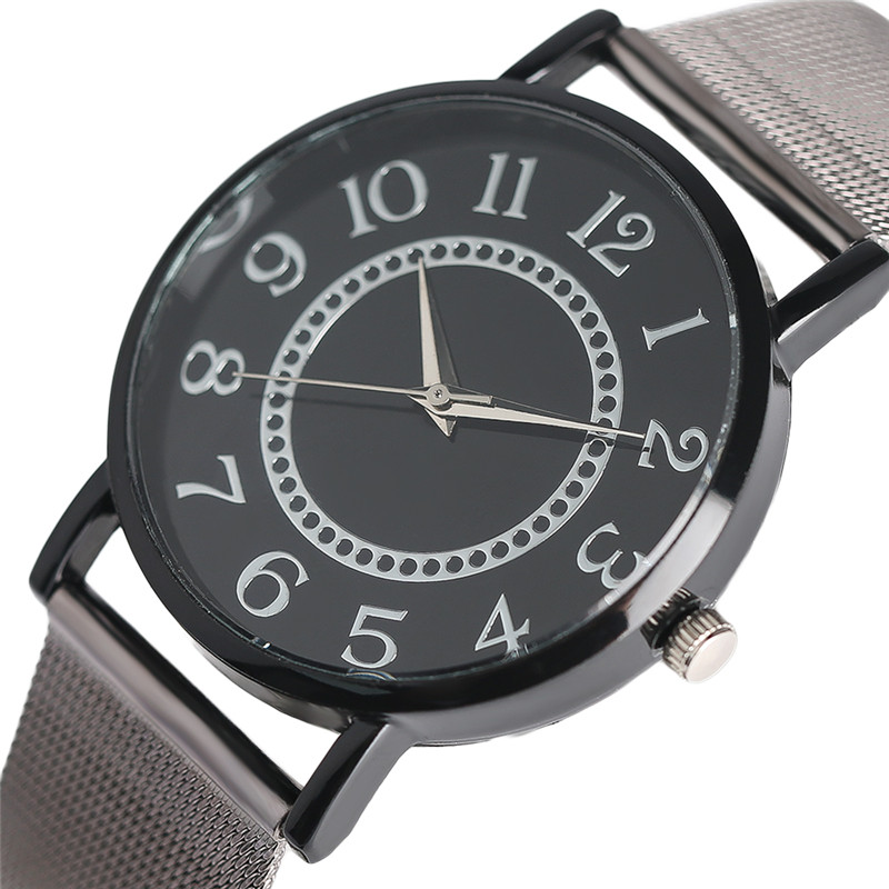 Brief Circle Dial Arabic Number Men Women Watch Quartz Analog Full Steel Mesh Band Unisex Clock for Young People Student ulzzang other voices full circle cd